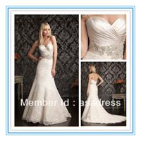 Hot Sale Sweetheart Neckline Sheath Lace Crystals Sash  Wedding Dresses 2012(WDAL-2006)