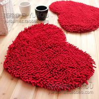 Super-fibre chenille peach love shaped mats living room carpet doormat