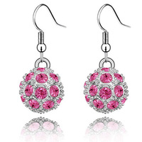 E273-1  Wholesale 925 silver earrings, 925 silver fashion jewelry, Austrian Crystal 8k, Plated Gold  Women ,zircon,