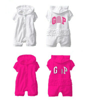 Free shipping 3pcs/lot baby girl summer hoodies/hooded bodysuits short sleeves jumpsuits girl sports rompers