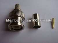 Free Shipping,100Pcs,RG59,60 CCTV Crimp BNC Three-Piece Zinc Alloy Materials