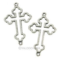 Tibet Silver Flowers and the cross pendants bead Fit Charm Bracelet 41847