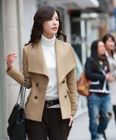 Newly Woolen Wool Coat Cashmere Women's Fur Collar woolen double botton C2801