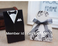 Popular model wedding Favor  boxes new free shipping Groom and leaf Bride 100pcs  gift box candy box black and white