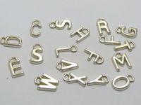 200 Assorted Silver Tone Metallic Acrylic Alphabet Letter Charm Pendants