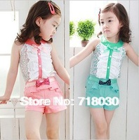 KID Brand New 2014 summer wear flower bow edition vest shorts T-SHIRTS + PANTS set new girls children clothing set