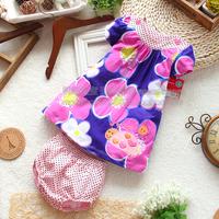 Free shipping summer baby dress set  short-sleeve summer dresses set top shorts