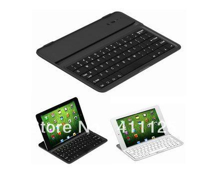 Black/White Colors Portable Bluetooth Keyboard Aluminum alloy Hard Case Cover For iPad Mini 50pcs/lot EMS Free Shipping(China (Mainland))