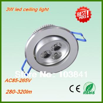Free shipping wholesale 3W led ceiling light AC85-265V led light 2years warranty 260-290LM led ceilinglight 2pcs/lot led lamp