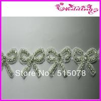 New Arrive Bridal Motif Glass Stone Shine Bow Hair Accessories Applique Belt