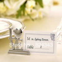 FREE SHIPPING +Silver LOVE Place Card Holders+50pcs/LOT+Popular for Wedding Party Favors