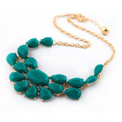 Free Shipping Vintage Green And Yellow Crystal Nacklace Fashion Jewelry For Women(China (Mainland))