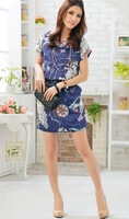 Promotion! Free Shipping Women Summer Printing Genuine Vintage Dresses,preppy dress Maxi Size XL XXL XXXL XXXXL