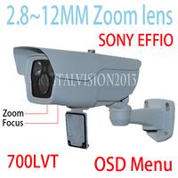 2.8-12mm ZOOM Lens 700TVL1/3 SONY CCD Effio-E 2 Array Waterproof Camera CCTV