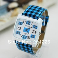 Korean WOMAGE fashion students plaid leather strap unisex watch.Mulit-Colors