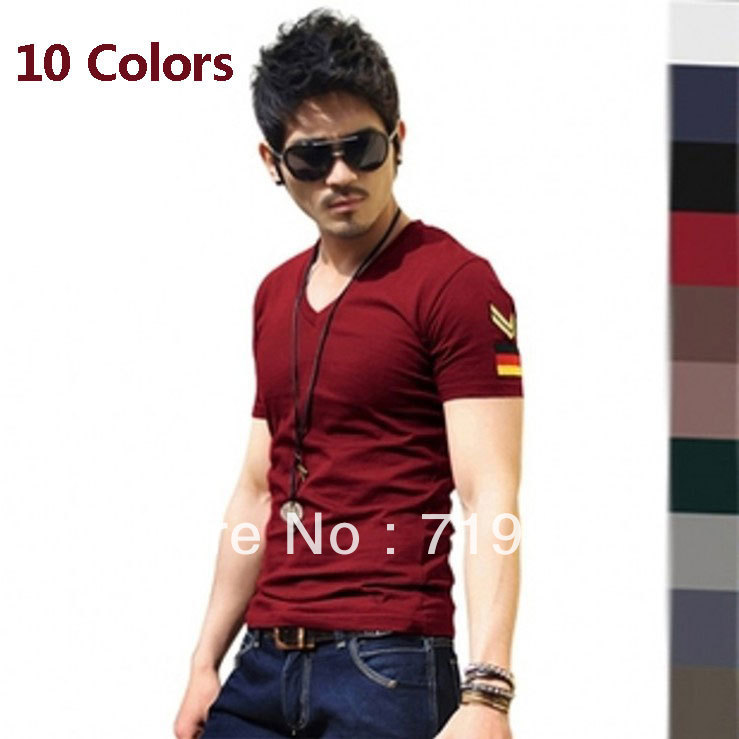 10 Color Cheap + Free shipping 2013 hot Men clothes t shirt cotton polyster short sleeve v neck close-fitting T-shirt punk(China (Mainland))