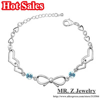 Hot Sales Heart Bowknot Chain Link Bracelets For Women Jewelry 2013 10pcs/lot Free Shipping