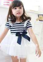 best quality fashion stripe dress   voile mini dress princess dress  2013 new  free shipping