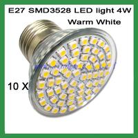 Free Shipping 4W E27 60 LED LED Bulb Lights 110V Warm /Cool White LED BULB LIGHTS LAMP 10pcs/lot