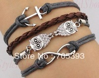 2013 Hot New Owl Anchor Infinity Pink Rope Bracelet Free Shipping RN24036