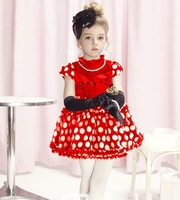 Pink/Red 2013 hello kitty cute dress children summer kids tutu dresses for 2-7y girl high quality