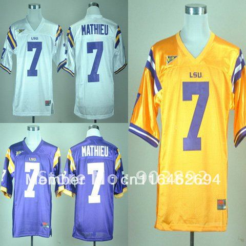 LSU Tigers #7 Tyrann Mathieu white/ purple/ golden ncaa football jerseys size 48-56 mix order free shipping(China (Mainland))