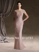 Wholesale - Lace Coral Mother Of The Bride Dresses Short Steeve Rhombic Back Bead Party Evening Dresses 113d00