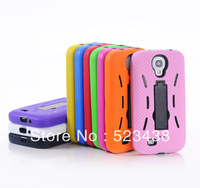 Heavy Duty Hybrid Shock Proof Silicon Plastic Stand Case Cover For Samsung Galaxy S4 S IV i9500 cell phone cases 100pc