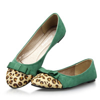 2013 spring and autumn leopard print bow round toe comfortable flats shoes four seasons women's flats women's  ballerina shoes
