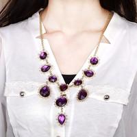 Fashion Quality Brief Luxrious OL Purple Simulated Drop Gem Drop Gold Short Necklace Design Necklace N1067