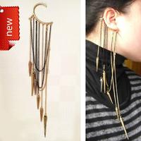 Fashion EarCuff Clip Popular e171 Ultra Long Tassel Rivet Elsin Ear Hook Earrings Hot Sales Decoration