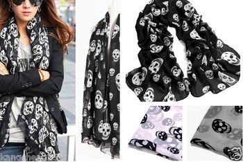 Hot 10pcs Black Cool Women's Big Skull Head Skeleton Soft Long Shawl Scarf Wrap Stole