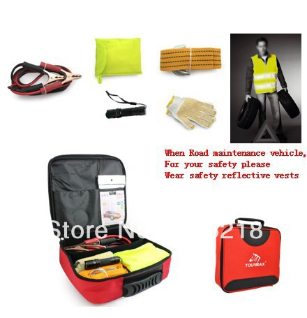 Free Shipping auto emergency kit car road emergency kit take the battery FireWire, safety reflective vests, tow rope hot sale(China (Mainland))