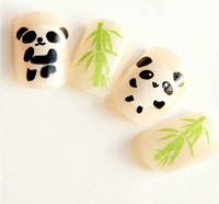 2013 hot new 24pcs Acryli Nude color OL Panda False Nails Art Tips Fashion Artificial false nails patch Free shipping