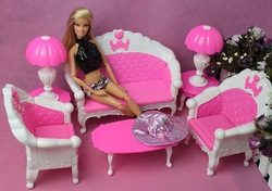 new arrival discount plastic sofa couch desk lamp 6 items/set accessories for barbie doll girl birthday gift(China (Mainland))