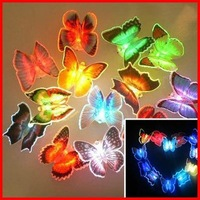 Free Shipping (6pcs/lot ) Colorful LED Butterfly Night Light For Wedding Room Color Changing LED Night Light For Children Room