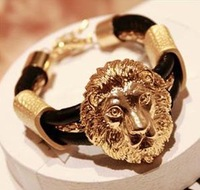 Min order is $15(Mixed order)2013 Retro fashion  Cortex Leather  Metal Lion Head Bracelet ,freeshipping