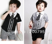 free shipping baby children\ boys gentleman  shirt tshirt+ pants+tie summer short suits set