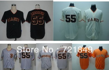 5-10days Free shipping Cheap San Francisco Giants #55 Tim Lincecum cool base cream,orange,grey,black baseball jersey