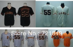5-10days Free shipping Cheap San Francisco Giants #55 Tim Lincecum cool base cream,orange,grey,black baseball jersey(China (Mainland))