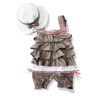 baby rompers cap one-piece grey girls' sets outfits
