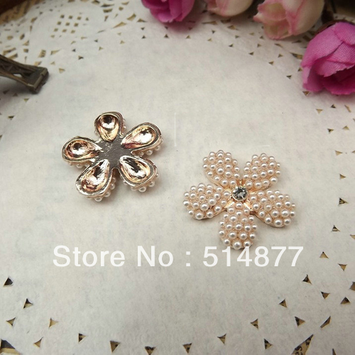 Small pearl five petal flower bow mobile phone interspersion decoration alloy houaphan diy hair accessory material d149(China (Mainland))