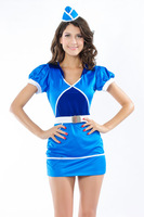 Fashion popular blue tight-fitting elastic stewardess serving strap hat 8632