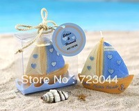 Free Shipping Fashion wedding favor--Love Boat Beach Candle in Gift Box