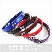 Y4 Free shipping,  1.8 width bones dog  PU collar, 5pcs/lot
