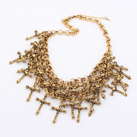 2013 Fashion quality  skull cross vintage cross chian necklace gold  for  women 94172