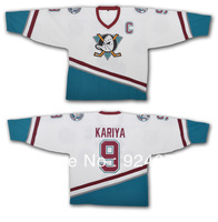 #9 Kariya Mighty Ducks Of Anaheim Ice Hockey Jersey 1996-06 White/Green Any Number, Any Name Sewn On (S-4XL)