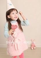free shipping  2013 new  Winter thick girl's sleeveless dress rabbit vest dress princess dress  best quality