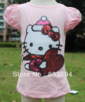 wholesale 2013 new summer free shipping baby clothing B2W2 girls short sleeve t shirt,hello kitty t shirt,5pcs/lot TS58