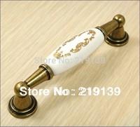 5PCS C.C.96mm Ceramic Knobs Decorative Dresser Knobs Brass Antique Handles For Furniture Kitchen Cabinet Pulls